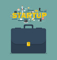 startup business concept with briefcase vector image