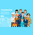 teamwork of people with different profession vector image vector image