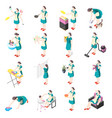 tortured housewife isometric icons vector image