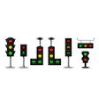 traffic light realistic city stoplight with green vector image