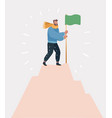 victorious man standing on top holding a flag vector image