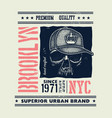 vintage urban typography with skull vector image vector image