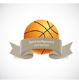 Basketball with brown ribbon vector image