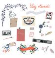 Blog elements set for the retro design vector image