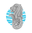 Hand drawn of Singapore symbol lion with fish tail vector image