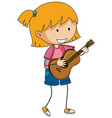 a girl playing acoustic guitar doodle cartoon vector image