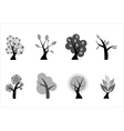 A set of various icons of trees vector image