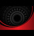 abstract dark gray circle circuit in red metal vector image