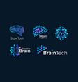abstract dotted brain logo set dots human vector image vector image