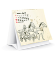April 2014 desk horse calendar vector image vector image