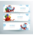 Banner with a bag of Christmas gifts vector image vector image