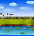 beautiful garden with the blue lake vector image