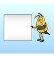 bee holding a blank board vector image