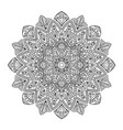 black indian mandala on white background vector image vector image
