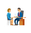 boss of company hiring new woman worker at office vector image