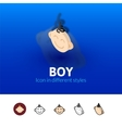Boy icon in different style vector image vector image