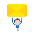 businessman character holding up closed mail vector image vector image