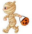 cartoon little mummy with pumpkin basket vector image