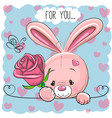 cartoon rabbit with flower vector image vector image
