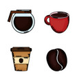 coffee time set icons vector image vector image