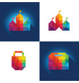 colorful polygon shopping concept in format vector image