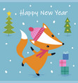 cute cartoon fox print vector image vector image