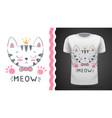 cute cat - idea for print t-shirt vector image vector image