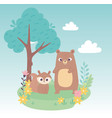 cute little squirrel and bear on grass with vector image