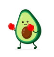cute smiling strong avocado fighting vector image vector image
