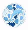 dolphin and marine elements isolated on a white vector image vector image