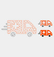 emergency car mesh 2d model and triangle vector image vector image