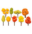 flat set of colorful autumn trees forest vector image vector image