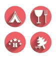 Food hotel camping tent and tree signs vector image vector image