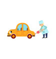 funny old doctor making injection to car character vector image