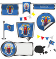 glossy icons with flag of minsk belarus vector image vector image