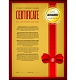 Golden certificate design vector image vector image