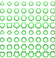 Green curved polygon shape icon collection vector image vector image