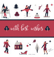 greeting card with different characters elements vector image