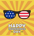 happy independence day card with glasses vector image