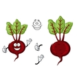 Happy little cartoon beetroot with green leaves vector image vector image