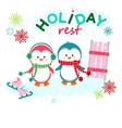 Holiday funny penguins vector image vector image