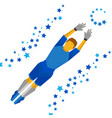 jumping football goalkeeper catches the ball vector image