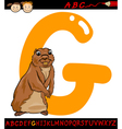 letter g for gopher cartoon vector image vector image