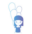 line girl with blouse and balloons design vector image vector image