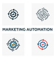 marketing automation icon set four elements in vector image vector image