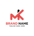 monogram logo letter mk vector image vector image