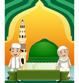 Muslim couple and mosque vector image vector image