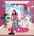 nanny vacuums children room vector image