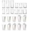 realistic glass glasses plastic cups packages vector image