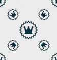 rown icon sign Seamless pattern with geometric vector image vector image